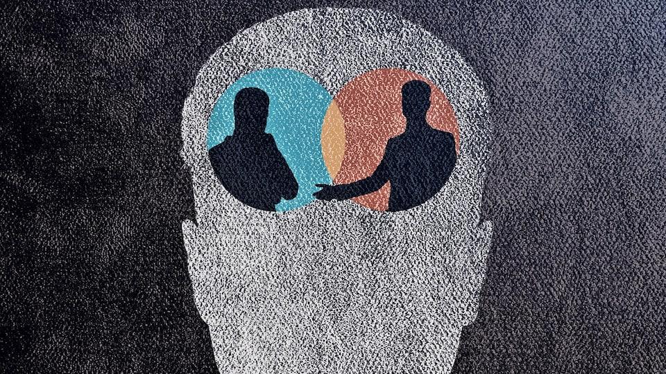 Un dessin montre deux silhouettes qui interagissent dans la tête d'une personne.