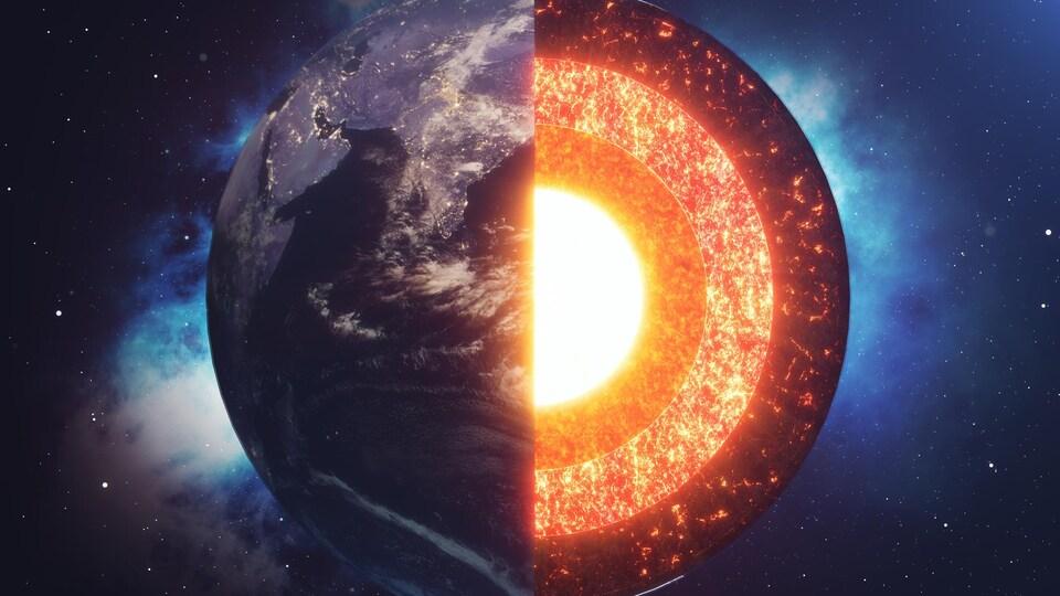Une infographie en trois dimensions montre la Terre et son noyau.