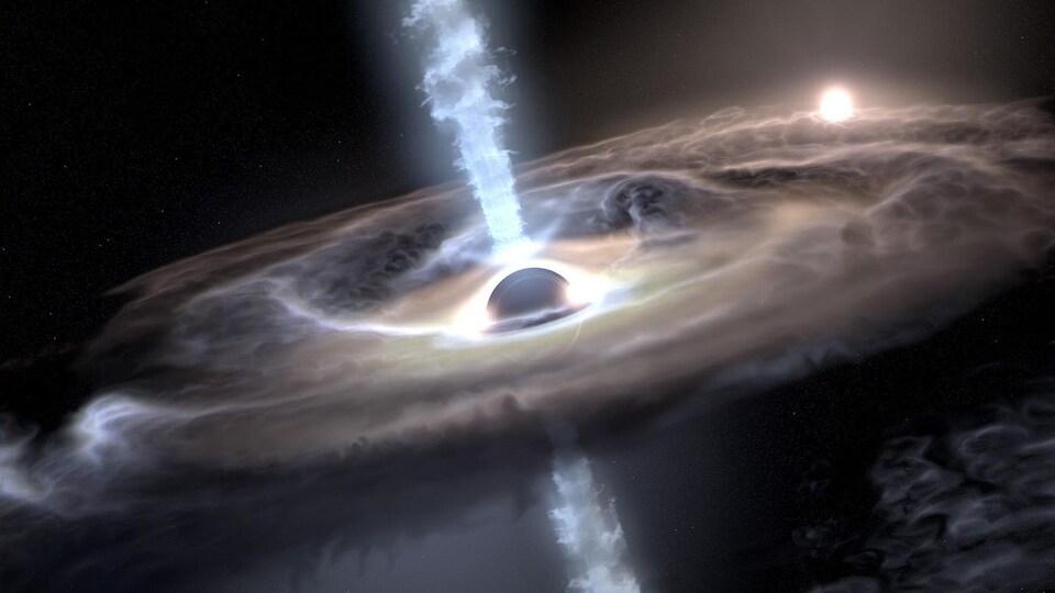 Un trou noir est dessiné par un artiste.
