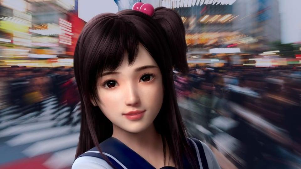 La silhouette du robot conversationnel Xiaoice apparaît, avec en arrière-plan des passants.