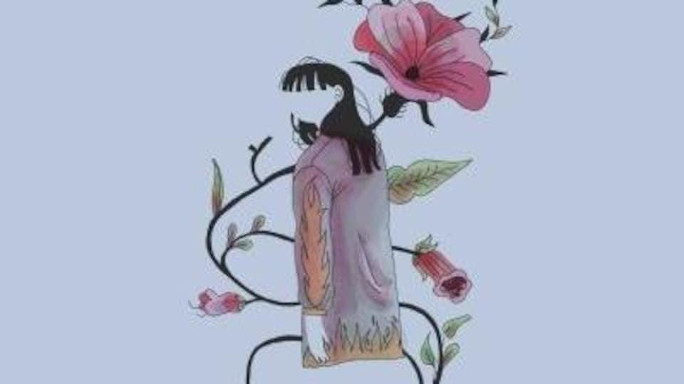Le dessin d'une personne et d'une fleur.