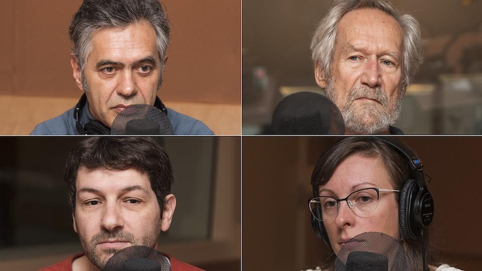 Yves-Marie Abraham, Serge Mongeau, Jérémy Bouchez et Mélissa de Lafontaine au micro de Catherine Perrin.
