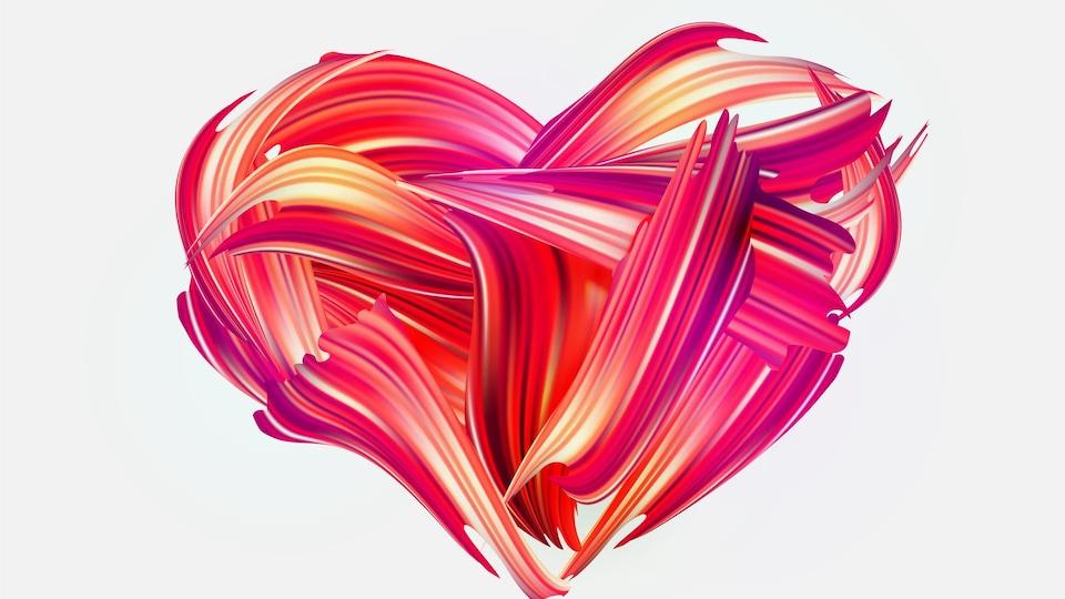 Dessin d'un coeur dans des couleurs rouges.