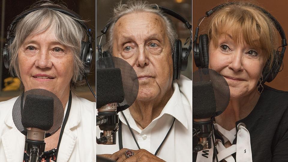 Diane Beaudry, Jean-Guy Desjardins et Louise DesChâtelets au micro de Stéphan Bureau.
