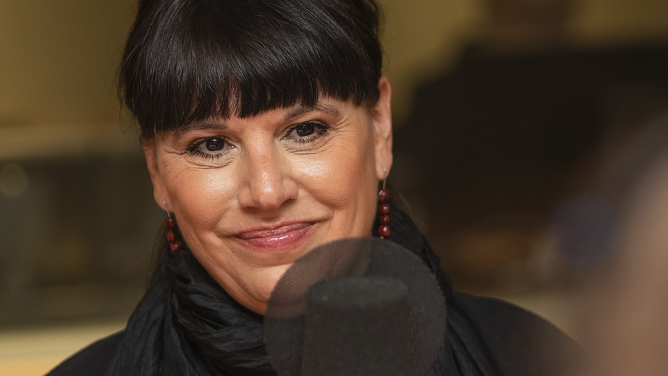 Nathalie Bondil au micro de Catherine Perrin.