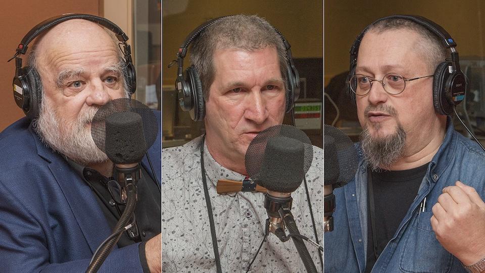 Serge Bouchard, Benoit Léger et André Gallant au micro d'Isabelle Craig.