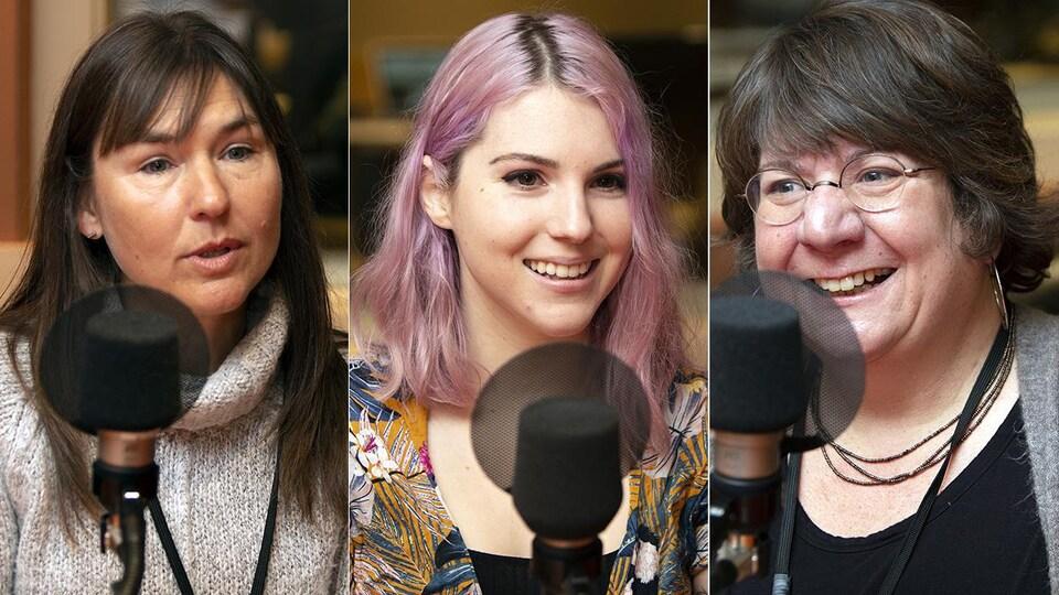 Trois femmes sont devant un micro dans un studio.