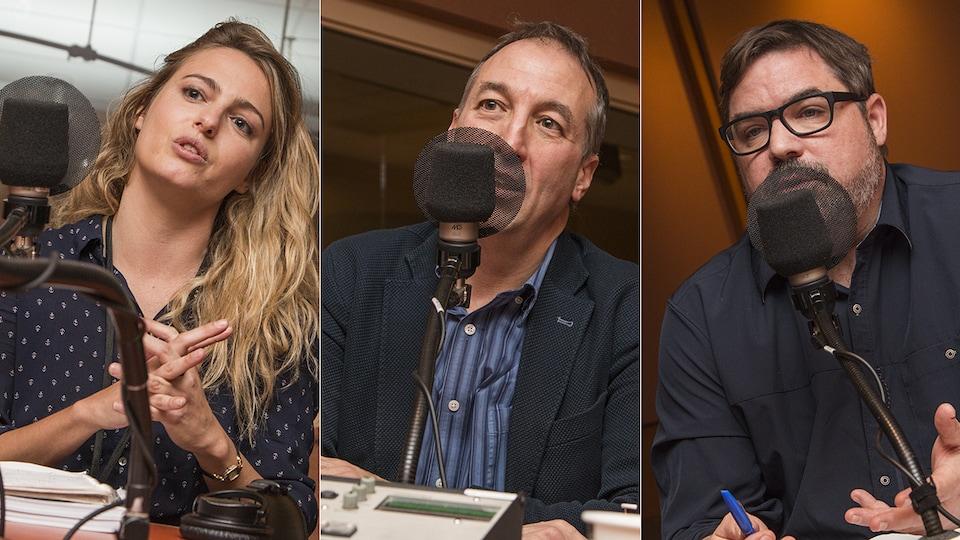 Sarah Cacoub, Normand Mousseau et Étienne Leblanc au micro de Catherine Perrin