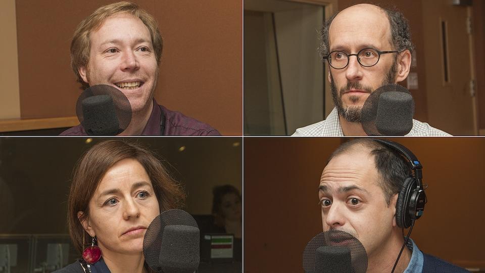Youri Chassin, Francis Vailles, Laure Waridel et Xavier Brouillette au micro de Catherine Perrin
