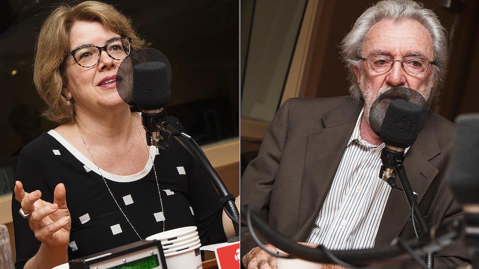 Chrystine Brouillet et Hubert Van Gijseghem au micro de Catherine Perrin