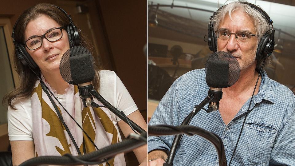 Dominique Bertrand et Pierre Therrien au micro de Catherine Perrin