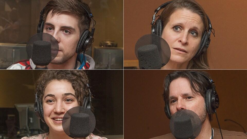 Maxime Girard, Sarah Poole, Alexandre Royer et Patrice Aubertin au micro de Catherine Perrin.