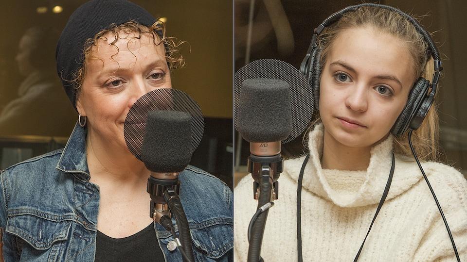 Karina Goma et Ludivine Reding au micro de Catherine Perrin