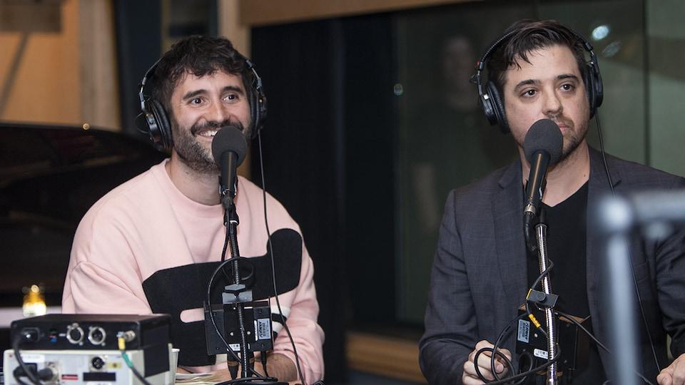 Arnaud Granata et Stéphane Mailhiot au micro de Catherine Perrin.