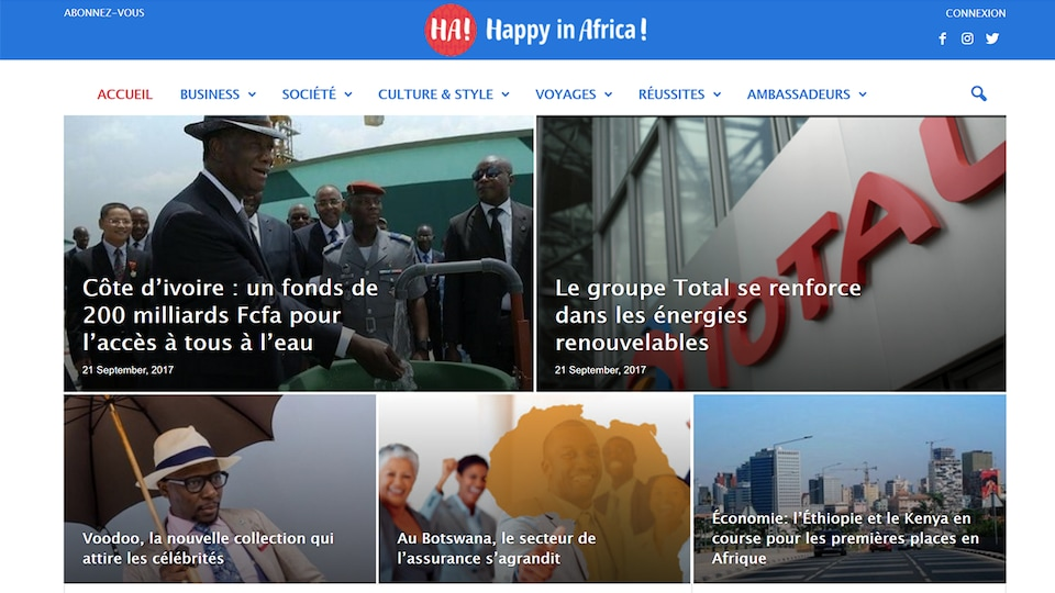 Entête du site Internet Happy in Africa