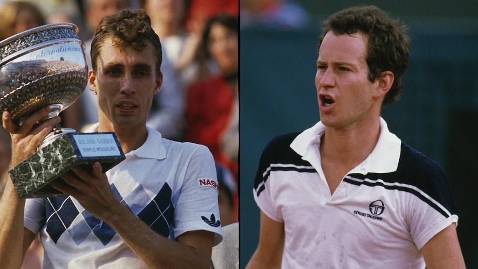 Le Tchèque Ivan Lendl et l'Américain John McEnroe lors du Tournoi Roland-Garros, le 1er juin 1984.