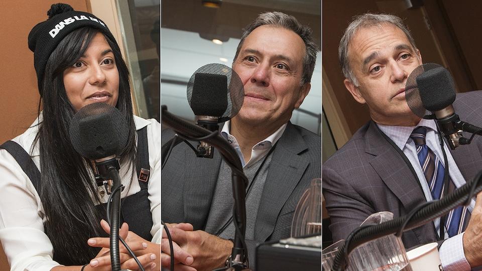 Kathy Baig, Robert Dumas et Yves Desjardins-Siciliano au  micro de Catherine Perrin