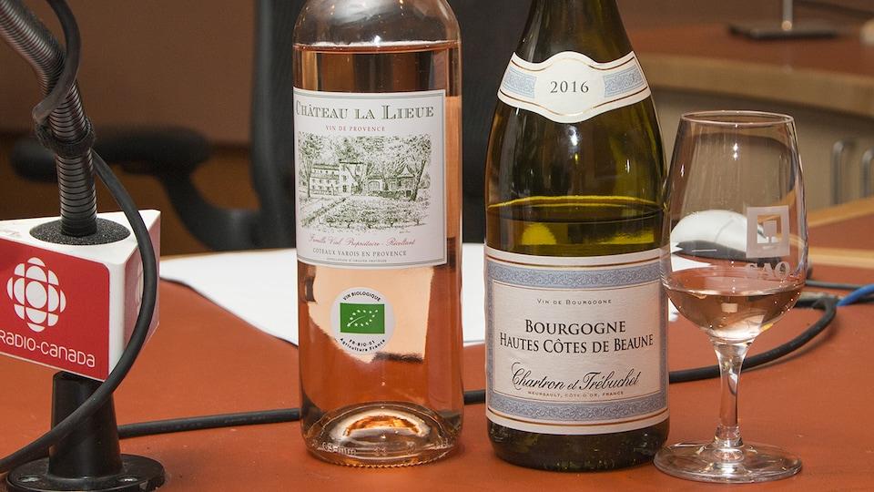 Gros plan sur les bouteilles sélectionnées par Élyse Lambert.