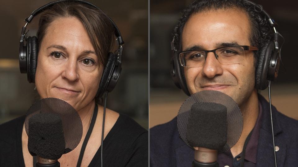 Marianne Lapointe et Ahmed Moussa au micro de Catherine Perrin.