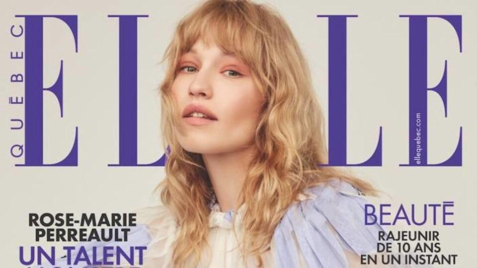 Une page couverture du magazine Elle Québec avec une jeune femme blonde.