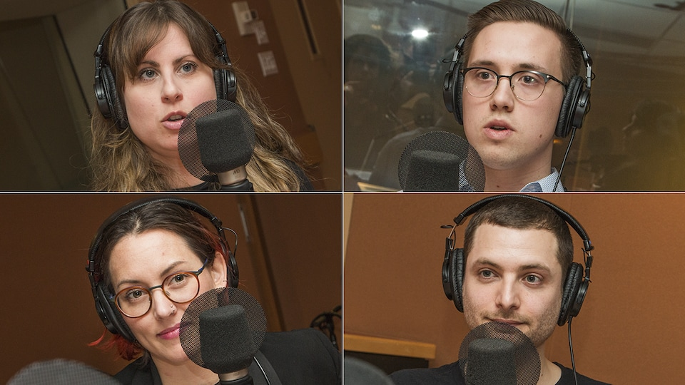 Anouk Mahiout, Daniel Jodoin, Marianne Desautels-Marissal et Bernard Lavallée au micro de Catherine Perrin