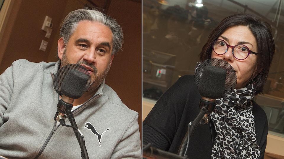 Marc Hervieux et Caroline Rheault au micro de Catherine Perrin