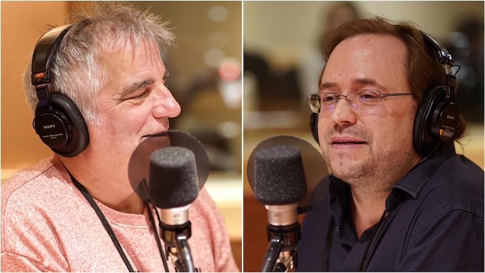 L'animateur Mike Gauthier et le professeur de musique Danick Trottier en studio.