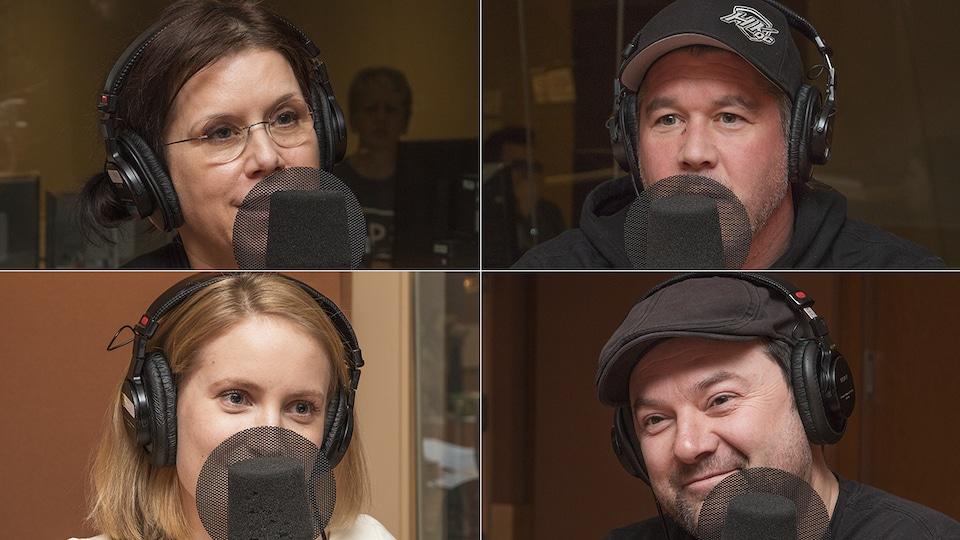 Pascale Montpetit, Emmanuel Auger, Charlotte Legault et Jeff Boudreault au micro d'Isabelle Craig.