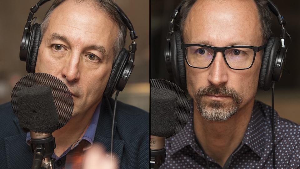 Normand Mousseau et Alain Bourque au micro de Catherine Perrin.