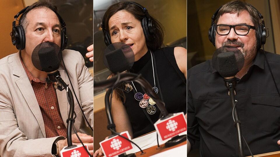Normand Mousseau, Laure Waridel et Étienne Leblanc au micro de Catherine Perrin