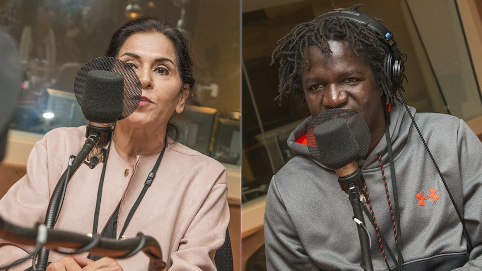 Nahid Aboumansour et Boucar Diouf au micro de Catherine Perrin