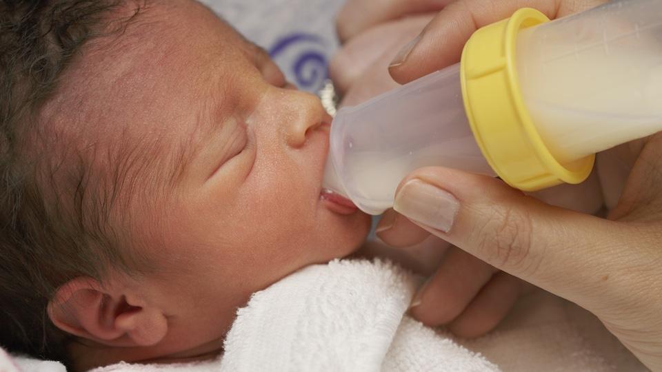 Un bébé prématuré de quelques semaines boit du lait.
