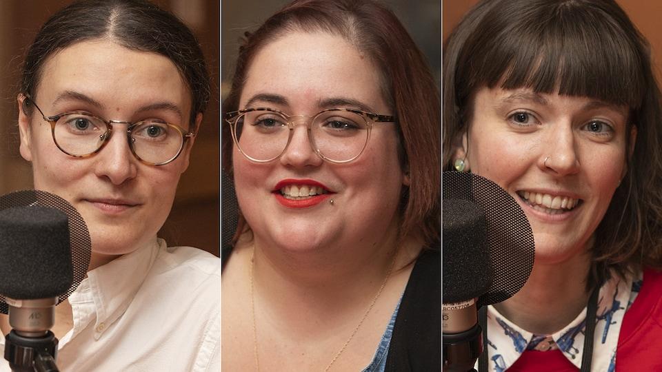 Solène Paré, Amélie Faubert et Robin Brazil au micro de Catherine Perrin.