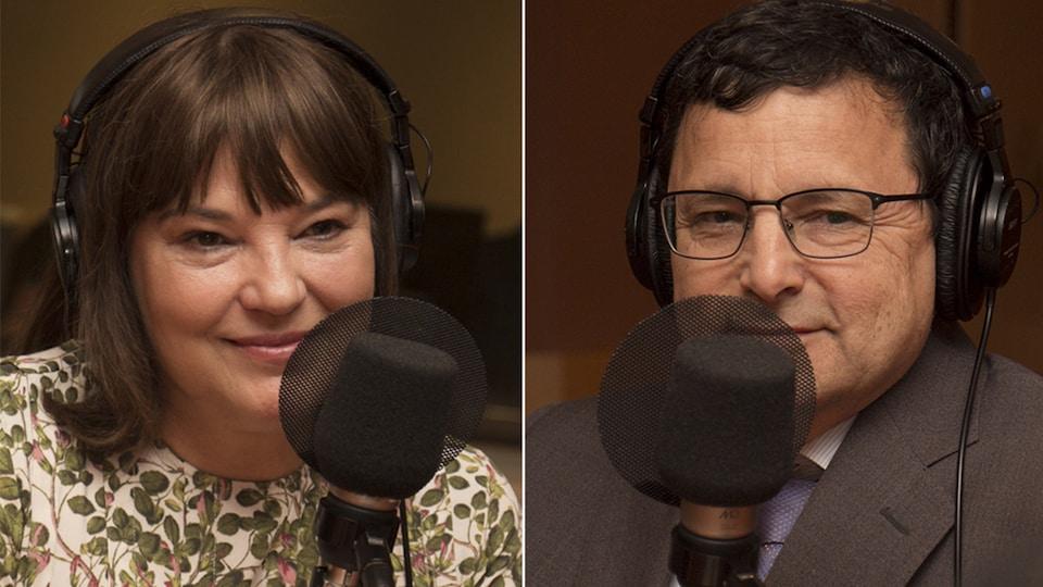 Pascale Wilhelmy et Denis Lévesque répondent aux questions de Catherine Perrin au studio 18 de Radio-Canada, à Montréal, le 28 mai 2018.