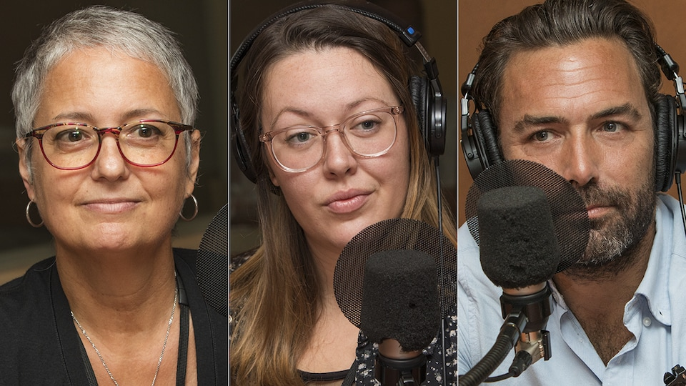 Anne St-Hilaire, Dominique Caron et Jean-David Pelletier au micro de Catherine Perrin.