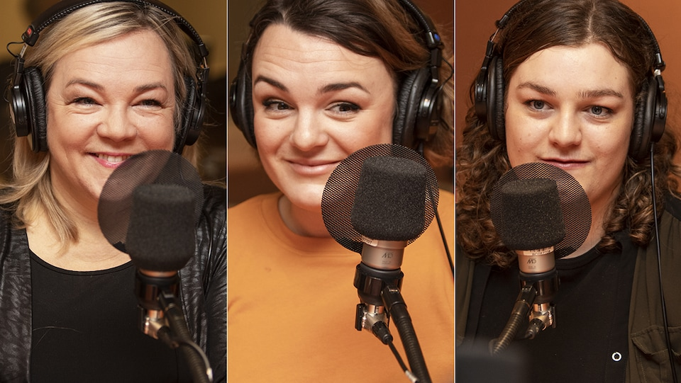 Marcia Pilote, Adèle Pilote-Côté et Madeleine Pilote-Babin au micro de Catherine Perrin.