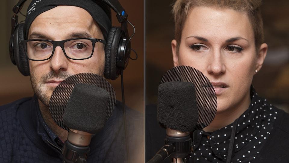 Charles Plourde et Alyson Beauchesne-Lévesque au micro de Catherine Perrin.
