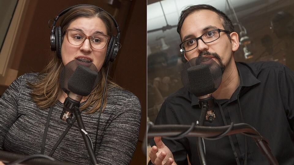 Stéphanie Deslauriers et Jordi Pourcher-Bouchard au micro de Catherine Perrin