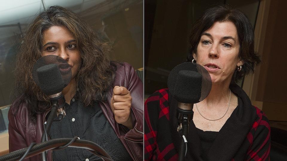 Sumitra Rajagopalan et Suzanne Lareau au micro de Catherine Perrin