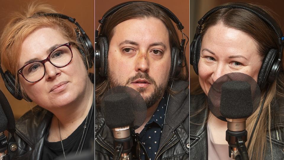 Nadia Seraiocco, Marc-André Mongrain et Julia Cyboran au micro de Catherine Perrin.