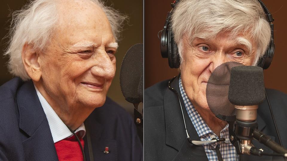 Roger Taillibert et Alain Stanké au micro de Stéphan Bureau.