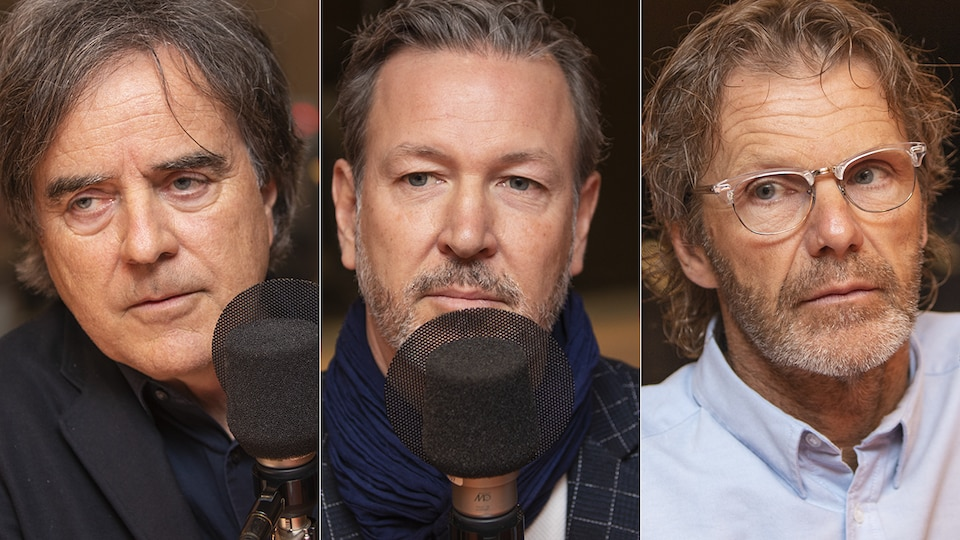 Pierre Thibault, Ricardo Larrivée et Pierre Lavoie au micro de Catherine Perrin.
