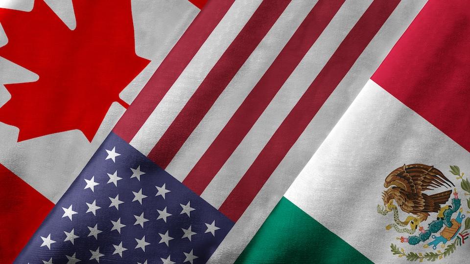 Un montage des drapeaux du Canada, des États-Unis et du Mexique.
