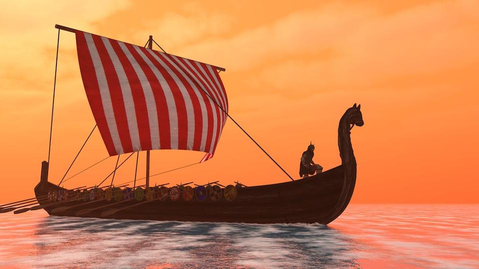 Illustration d'un drakkar viking naviguant sur un cours d'eau.