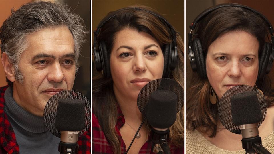Yves-Marie Abraham, Marie-Claude Élie-Morin et Élise Desaulniers au studio 18 de Radio-Canada, à Montréal, le 29 octobre 2018