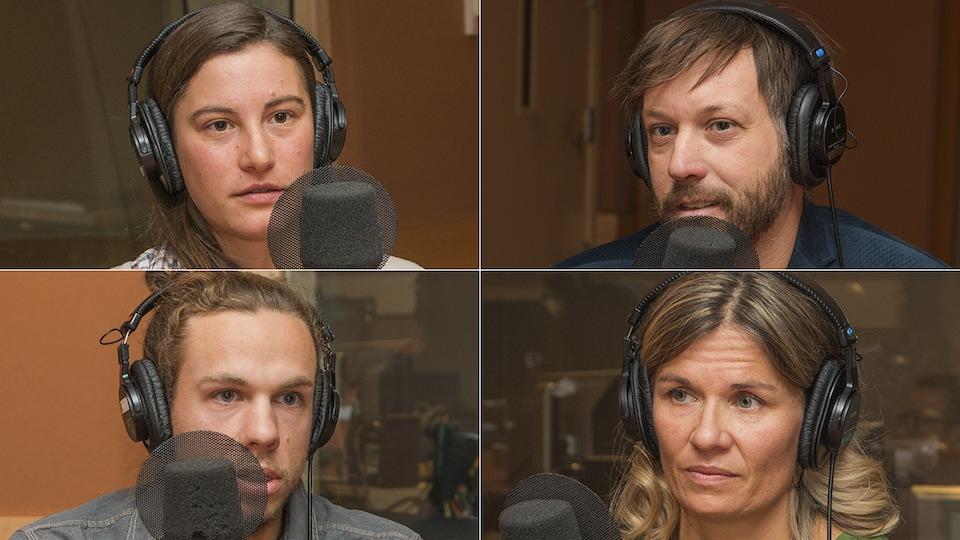 Myrtha  Zierock, Jean-Martin Fortier, Dany Bouchard et Catherine Bureau au micro de Catherine Perrin