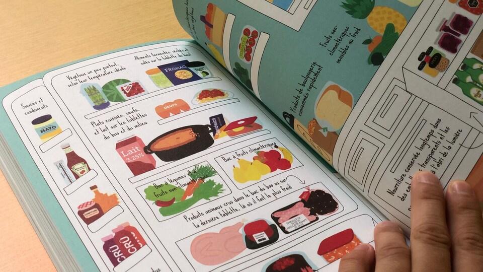 Une illustration d'un réfrigérateur expliquant où vont les aliments.