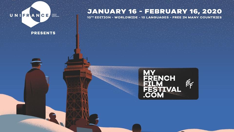 Affiche du festival My French Film Festival 2020 représentant la tour Eiffel transformée en projecteur de cinéma