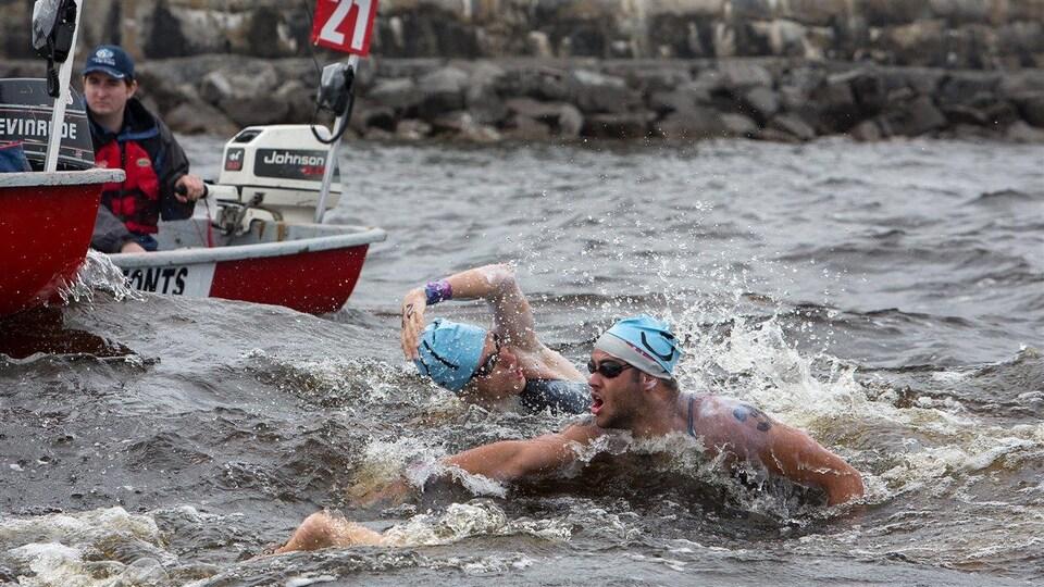 Des nageurs traversent le lac Saint-Jean.