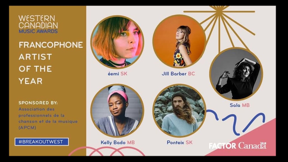 Nominations francos aux 'Western Canadian Music Awards'.